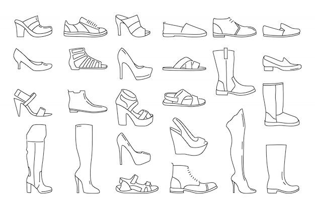 Différentes chaussures pour hommes et femmes.