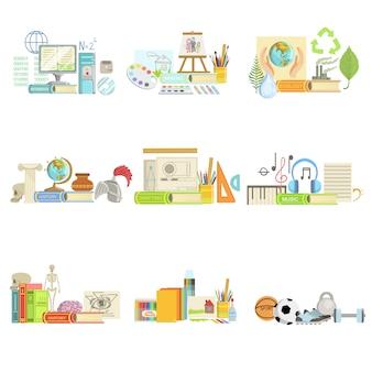 Différentes classes scolaires et compositions d'objets liés aux sciences