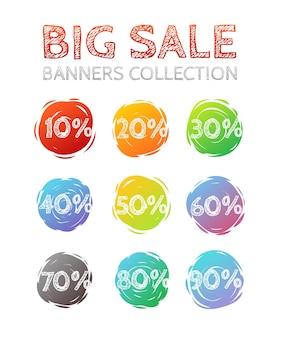 Différentes collections de vecteurs de bannières de vente de colo. ensemble de bannières promotionnelles web