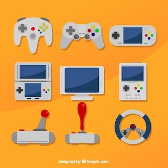 Différentes consoles sur un fond orange