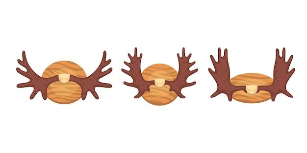 Différentes cornes, illustration de trophée de chasse cornée en dessin animé.