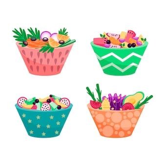 Différentes couleurs de bols remplis de nourriture végétarienne