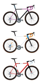 Différentes couleurs de vélos de route