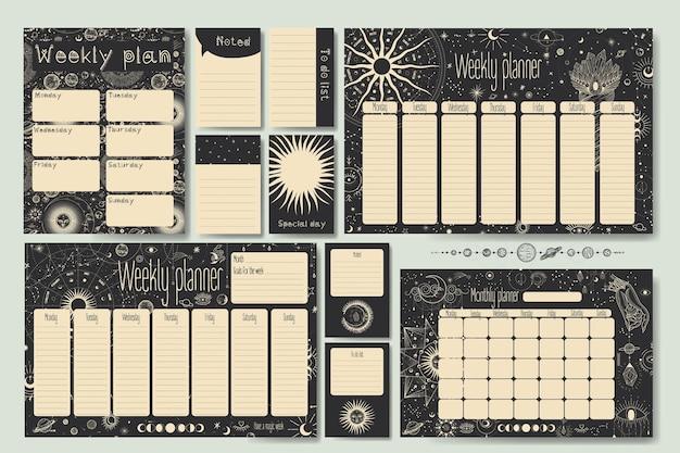 Différentes étapes de l'activité au clair de lune dans le style de gravure vintage sur les calendriers