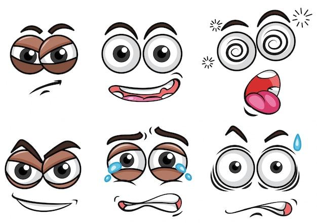 Différentes expressions faciales sur fond blanc