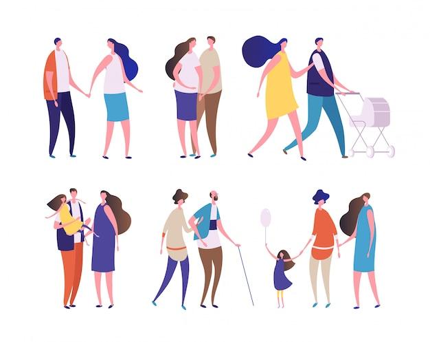 Différentes familles ayant un ensemble de marche
