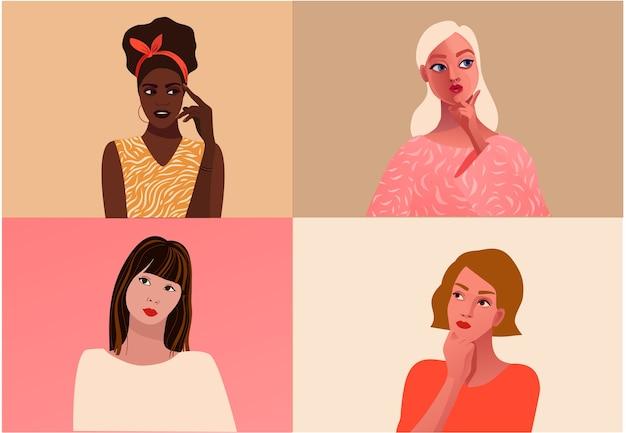 Différentes femmes ethniques. la lutte pour les droits