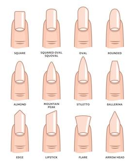 Différentes formes d'ongles - ongles tendances de la mode