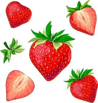 Différentes fraises délicieuses fraises fraise douce photo rouge fraise