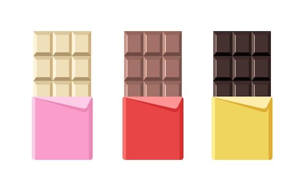 Différentes icônes de barre de chocolat dans un emballage en aluminium