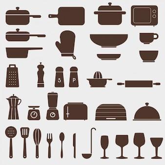 Différentes icônes de cuisine