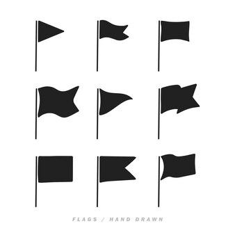 Différentes icônes de drapeau dessinés à la main. illustration vectorielle.