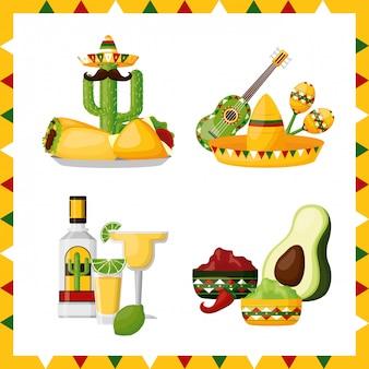 Différentes icônes représentatives du mexique sur blanc