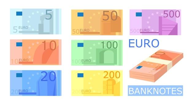 Différentes illustrations de billets en euros colorés