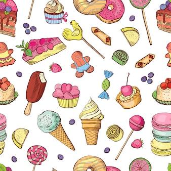 Différentes illustrations de glaces. modèle sans couture de vecteur. fond de glace au chocolat et gaufres