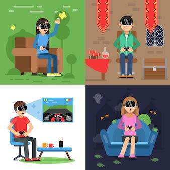 Différentes images conceptuelles de personnages amusants au casque de vr jouant à des jeux