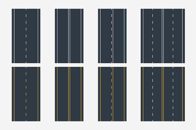 Différentes lignes de route en vue de dessus