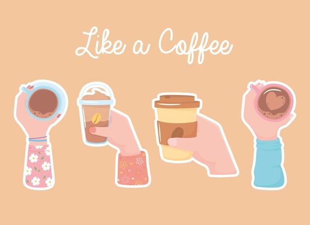 Différentes mains avec des tasses à café, des plats à emporter et des frappes, comme une illustration de café