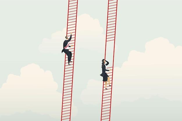 Différentes opportunités de carrière entre femme d'affaires et homme d'affaires