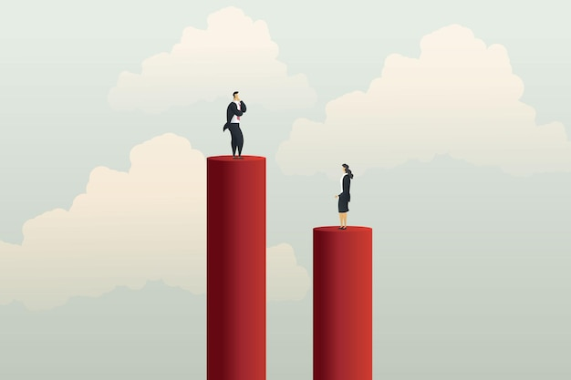 Différentes opportunités de carrière inégales entre femme d'affaires et homme d'affaires. illustration vectorielle