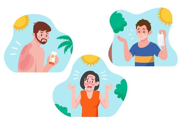 Différentes personnes avec une collection de coups de soleil