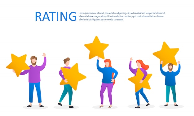 Différentes personnes donnent des évaluations et des commentaires.les personnages ont des étoiles au-dessus de leur tête.évaluation des commentaires des clients.évaluation de cinq étoiles.les clients évaluant un produit, un service. illustration.