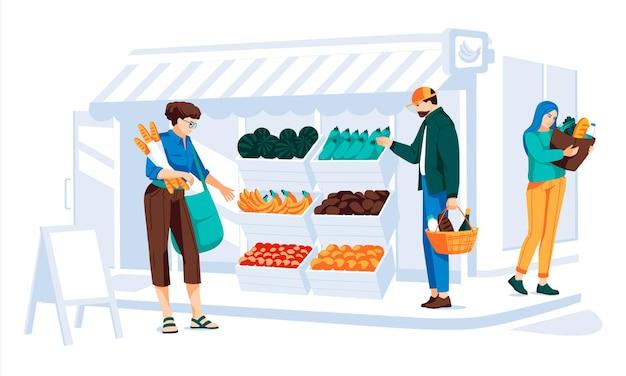 Différentes personnes faisant du shopping dans une épicerie avec fenêtre et porte façade en bois et brique