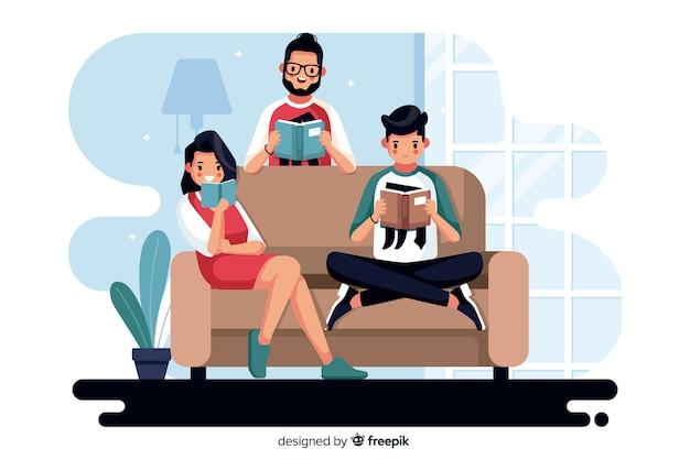 Différentes personnes lisant ensemble