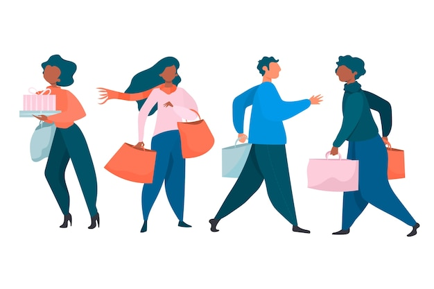 Différentes personnes occupées à acheter des cadeaux de noël