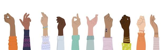 Différentes personnes paumes des mains dans des gestes de mains de style plat et illustration de la diversité communauté teamwo ...