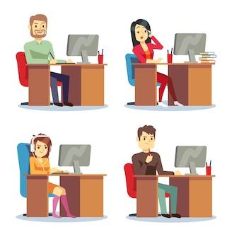 Différentes personnes, personnages, femmes et hommes travaillant au bureau