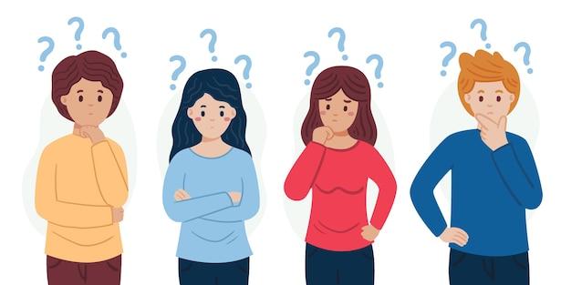 Différentes personnes posant des questions illustrées