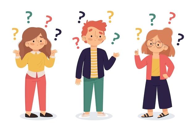 Différentes personnes posant des questions