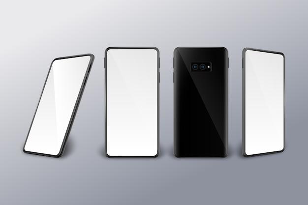 Différentes perspectives réalistes d'un smartphone