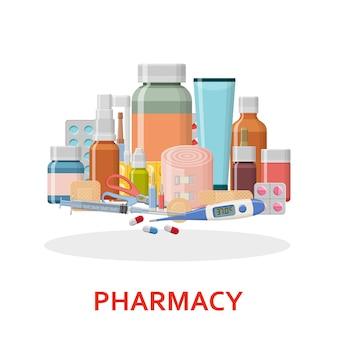 Différentes pilules médicales et bouteilles isolées sur blanc