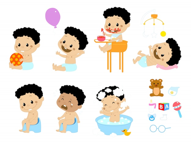 Différentes poses de bébé garçon et accessoires