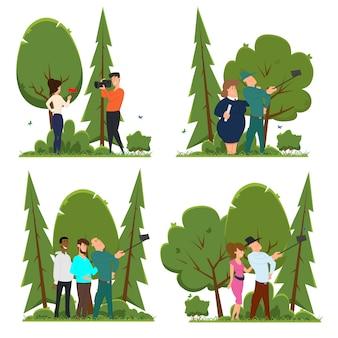 Différentes scènes dans lesquelles les gens participent à une séance photo.