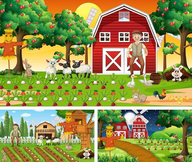 Différentes scènes de ferme avec personnage de dessin animé d'animaux de la ferme