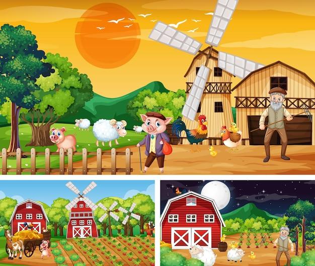Différentes scènes de ferme avec un personnage de dessin animé d'animaux de ferme