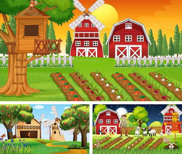 Différentes scènes de ferme avec vieux fermier et personnage de dessin animé animal