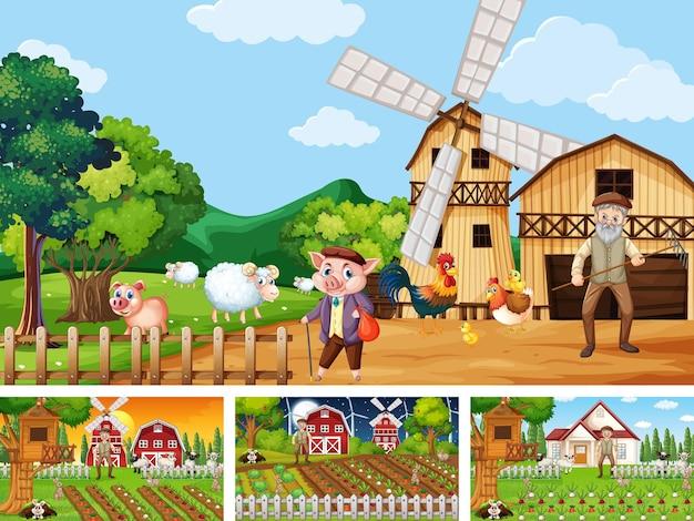 Différentes scènes de ferme avec un vieux fermier et un personnage de dessin animé animal