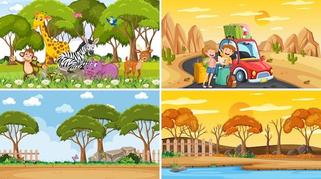Différentes scènes de fond de la nature dans l'ensemble