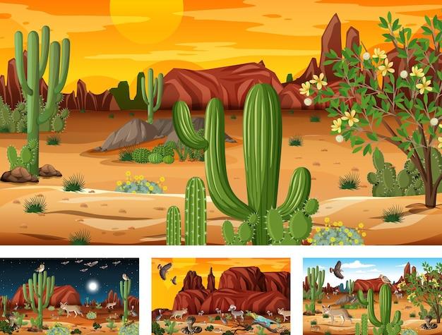 Différentes scènes de forêt désertique avec des animaux et des plantes