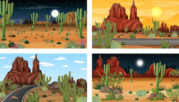 Différentes scènes de forêt désertique avec diverses plantes du désert