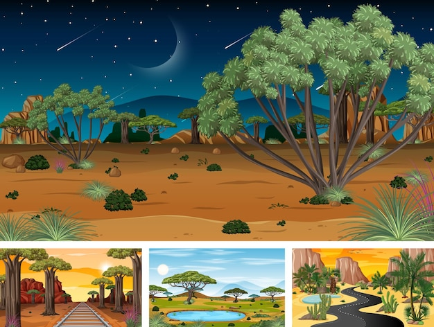 Différentes scènes horizontales de nature en style cartoon