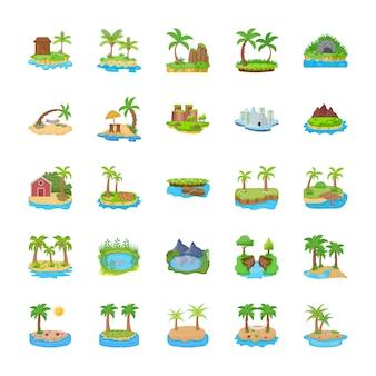 Différentes scènes d'icônes plates des îles