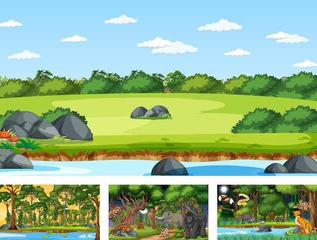 Différentes scènes naturelles de forêt et de forêt tropicale avec des animaux sauvages