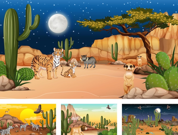 Différentes scènes avec paysage forestier désertique avec animaux et plantes