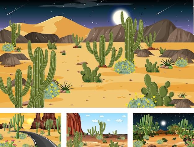 Différentes scènes avec paysage forestier désertique