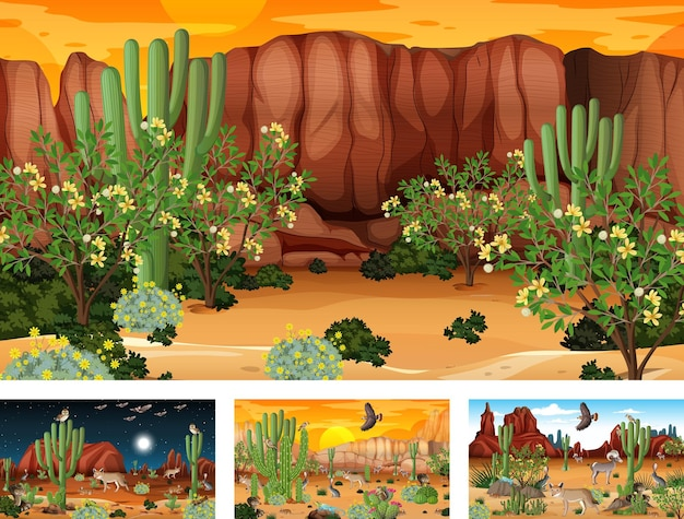 Différentes scènes de paysage de forêt désertique avec des animaux et des plantes
